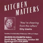 Kitchen Matters by Byony Lavery. Gay Sweatshop. Poster design: Angela Stewart Park.